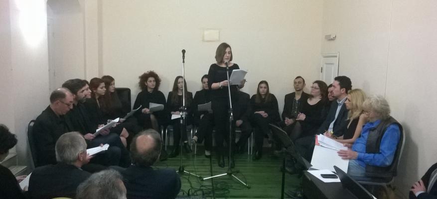 Θεατρική απόδοση ποιημάτων με συνοδεία μουσικής (εγκαταστάσεις Δ.Κ.Σ.Μ.Ρ.)